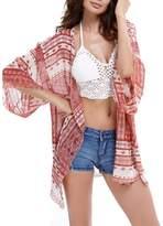Generic Women's Graphic Printed Sheer Kimono Cardigan Coverup
