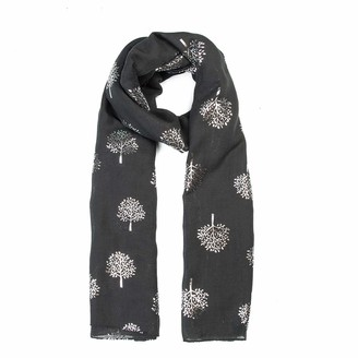 Glitter Mulberry Trees Scarf Women Foil Printed Tree Fashion Ladies Wrap By London Scarfs (Light Silver)
