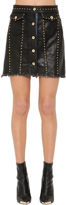 Versace STUDDED DENIM MINI SKIRT