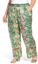 Plus Size Women's Elvi Belted Floral Wide Leg Pants