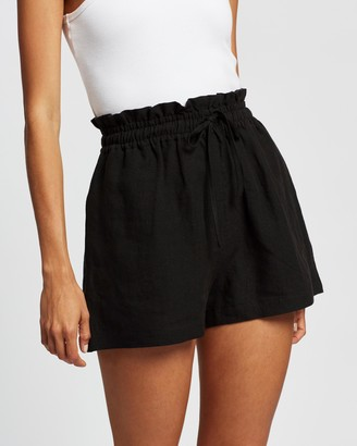 AERE - Women's Black High-Waisted - Drawcord Shorts - Size 12 at The Iconic