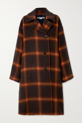 Stella McCartney Oversized Checked Wool Coat - Brown