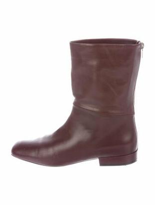 Celine Leather Boots Purple
