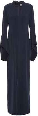 Halston Split-front Fluted Crepe Gown