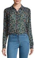 Veronica Beard Dazed Long-Sleeve Floral Silk Blouse, Black
