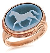 Laura Lee Jewellery Women's 9ct Rose Gold Oval Blue Agate Horse Cameo Ring - Size O