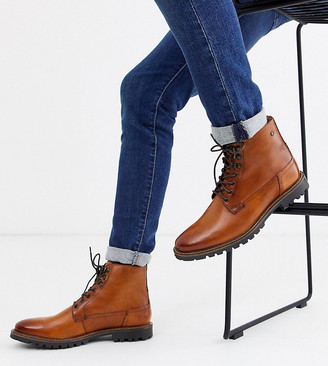 Wide Fit Callahan lace up boots in washed tan