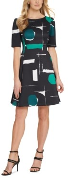 DKNY Printed Puff-Sleeve Fit & Flare Dress