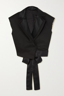 Unravel Project Cropped Satin-trimmed Twill Blazer - Black
