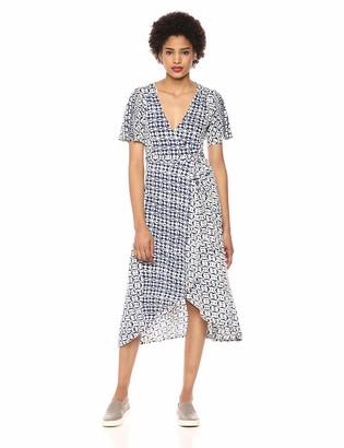 Lucky Brand Women's Flutter Sleeve Printed WRAP Dress
