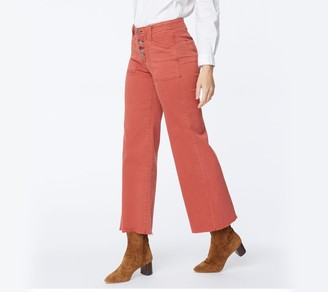 NYDJ Teresa Wide-Leg Ankle Jeans with Utility Detail- Auburn