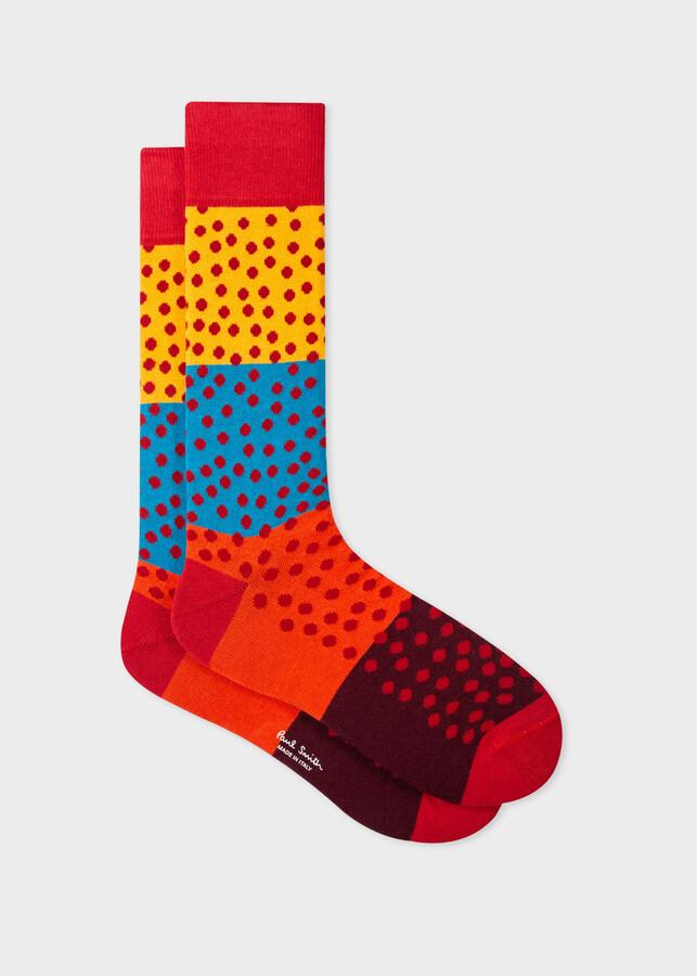 Thumbnail for your product : Paul Smith Men's Red Block-Stripe Dot Socks