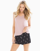 Soma Intimates Tank with Shorts Pajama Set Ballerinas Mini Pink