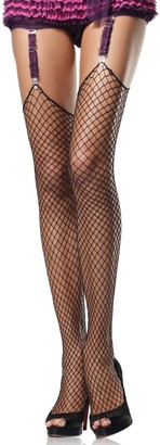 Leg Avenue Women's Plus Size Spandex Industrial Net Stockings with Unfinished Top
