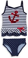 Flapdoodles Girls 2-6x Nautical Tankini Swimsuit Set
