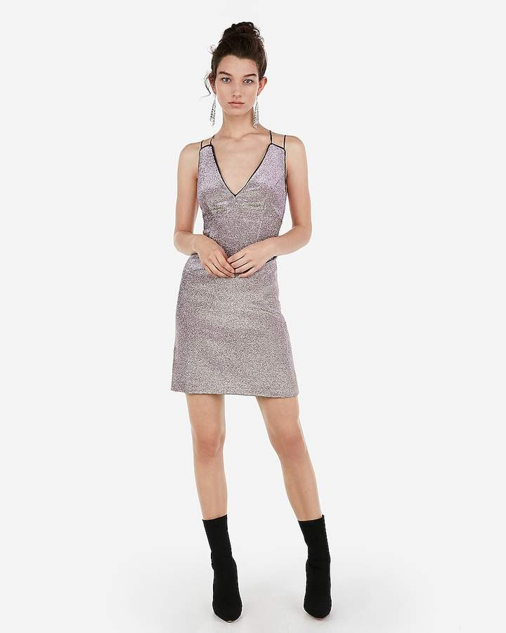 Express Metallic Deep Plunge Mini Cami Sheath Dress