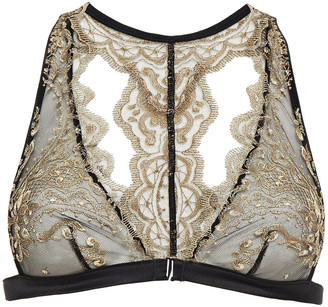 I.D. Sarrieri Metallic Embroidered Tulle Soft-cup Triangle Bra