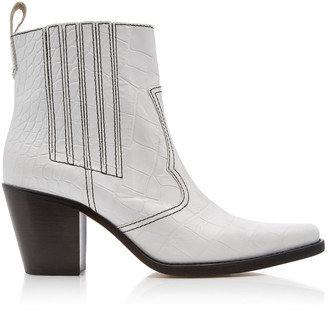Ganni Top-Stitched Croc-Effect Leather Boots