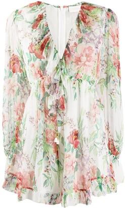 Zimmermann Floral-Print Silk Playsuit