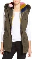 Jocelyn Women's Army Vest With Removable Genuine Fox Fur Hood & Lining