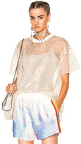 Ashish Oversized Net T-Shirt With Stardust in Metallics,White.