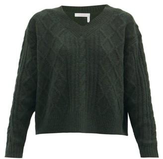 See by Chloe Aran-knit V-neck Sweater - Dark Green