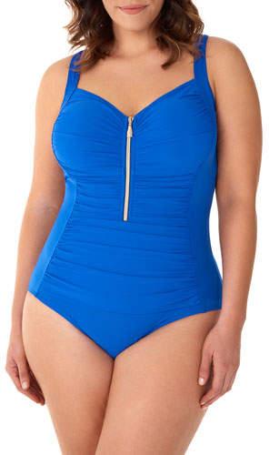 Miraclesuit Plus Size So Riche Zip Code One-Piece Swimsuit