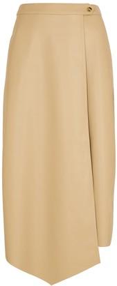 Gestuz Evie ecru faux leather wrap skirt