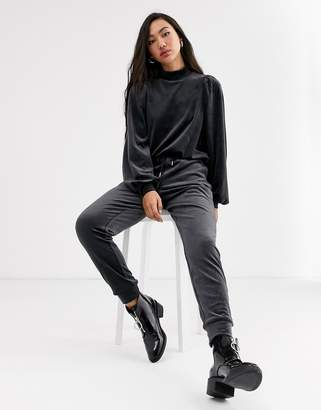 Monki velvet cuffed jogger in charcoal grey