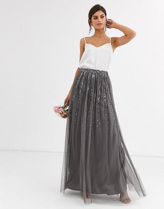 Maya Bridesmaid delicate sequin tulle skirt in dark grey