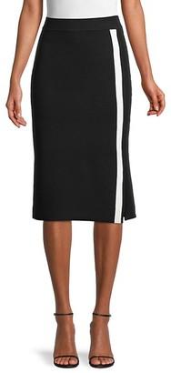 Pure Navy Striped Cotton-Blend Pencil Skirt
