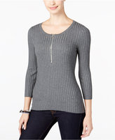 INC International Concepts Petite Zip-Up Ribbed Sweater, Only at Macy's
