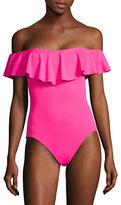 Trina Turk Gypsy Solids Off-Shoulder One-Piece Swimsuit