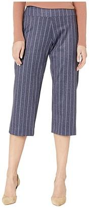 Krazy Larry Pull-On Wide Crop Pants in Stretch Knit (Stripe) Women's Casual Pants