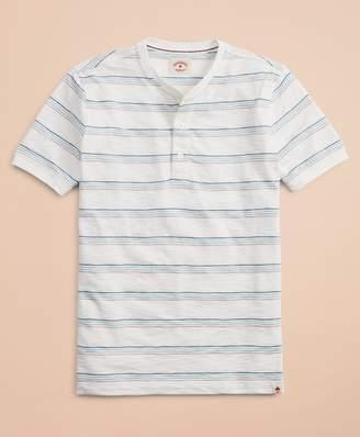 Brooks Brothers Multi-Color Stripe Slub Jersey Short-Sleeve Henley