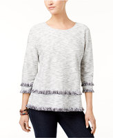 Style&Co. Style & Co Fringed Space-Dyed Top, Created for Macy's