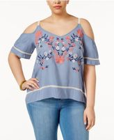 Eyeshadow Trendy Plus Size Off-The-Shoulder Top