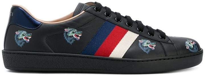 Gucci Ace with wolves print sneakers