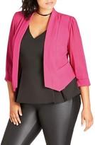 City Chic Plus Size Women's Sheer Sleeve Crop Blazer