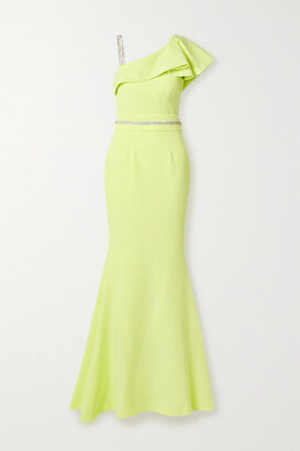 Safiyaa Mercedes Belted Ruffled Crystal-embellished Stretch-cady Gown - Chartreuse