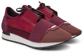 Balenciaga Race Runner Leather, Neoprene And Mesh Sneakers - Burgundy