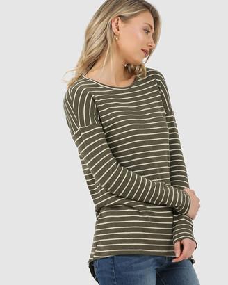 Privilege Asymmetric Hem Long Sleeve Top