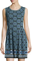Max Studio Printed Dress With Pleated Skirt, Navy/Ivory