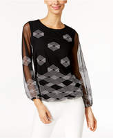 Alfani Embroidered Blouson Top, Only at Macy's