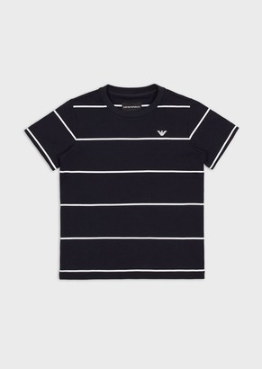 Emporio Armani T-Shirt In Jersey Interlock A Righe Con Logo