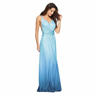 IMEKIS Women Multi Wear V Neck Dress Gradient Colour Bridesmaid Wedding Formal Cocktail Evening Party Dress Sleeveless Convertible Transformer Prom Dress Bandage Maxi Long Ball Gown Red M