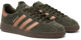 adidas Munchen Metallic Leather-trimmed Suede Sneakers - Green