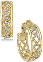 Charter Club Gold-Tone Circular Pave Clip-on Hoop Earrings, Created for Macy's