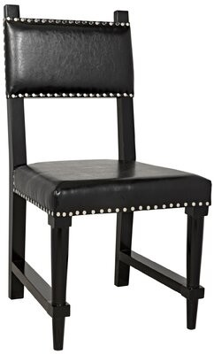 Noir Kerouac Upholstered Solid Wood Side Chair in Black