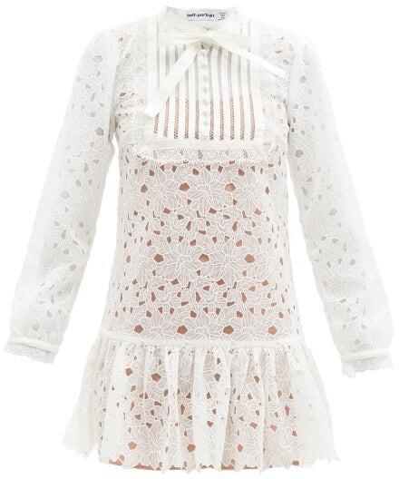 Thumbnail for your product : Self-Portrait Floral Guipure-lace Mini Dress - White
